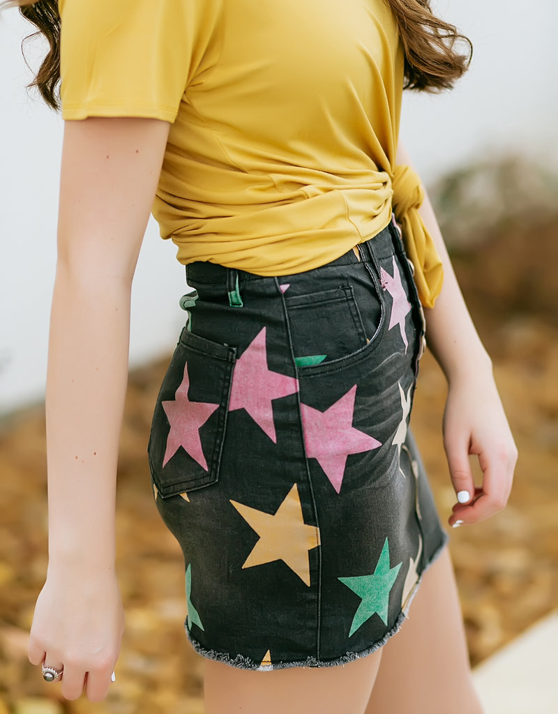 Charcoal Mardi Gras Denim Skirt