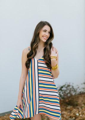 Pinch Strapy Multi Stripe Dress