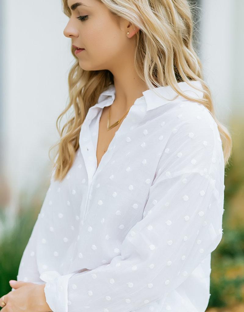 Dex Off White Polka Dot Button Up