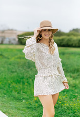 Pinch Cream Heart Elastic Waist Long Sleeve Dress
