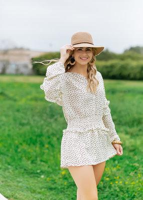 Pinch Cream Heart Elastic Waist Long Sleeve Dress