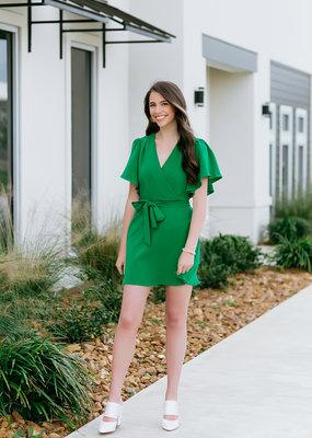 TCEC Kelly Green Flutter Sleeve Dress