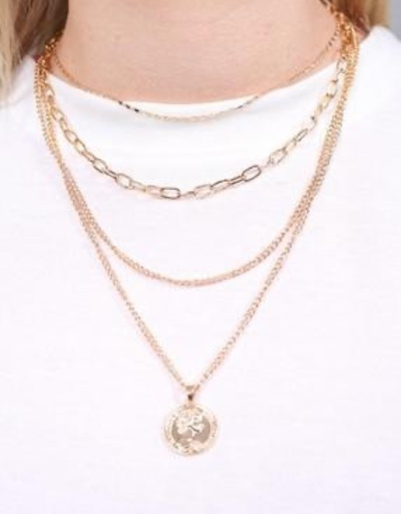 Kresser Multi Layer Chain Necklace With Coin Charm Gold
