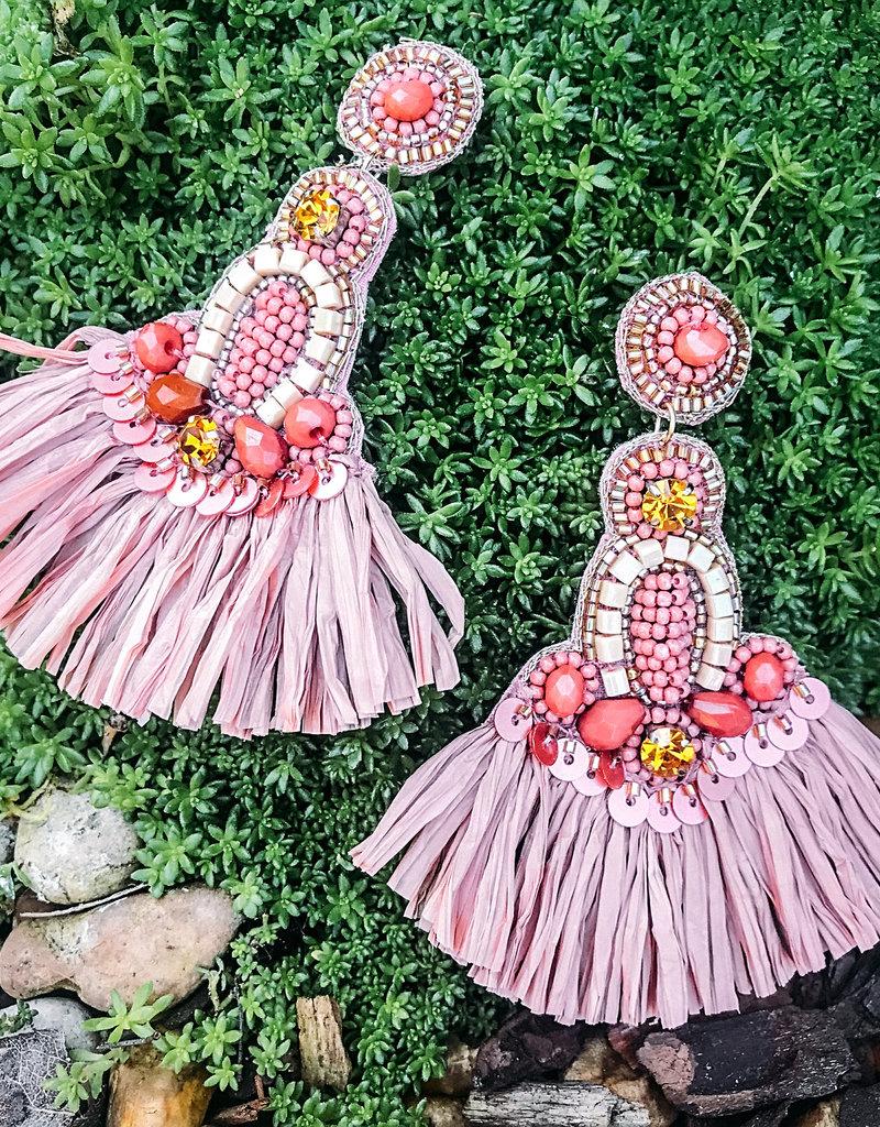 Tatou Embellished Raffia Post Earring Blush
