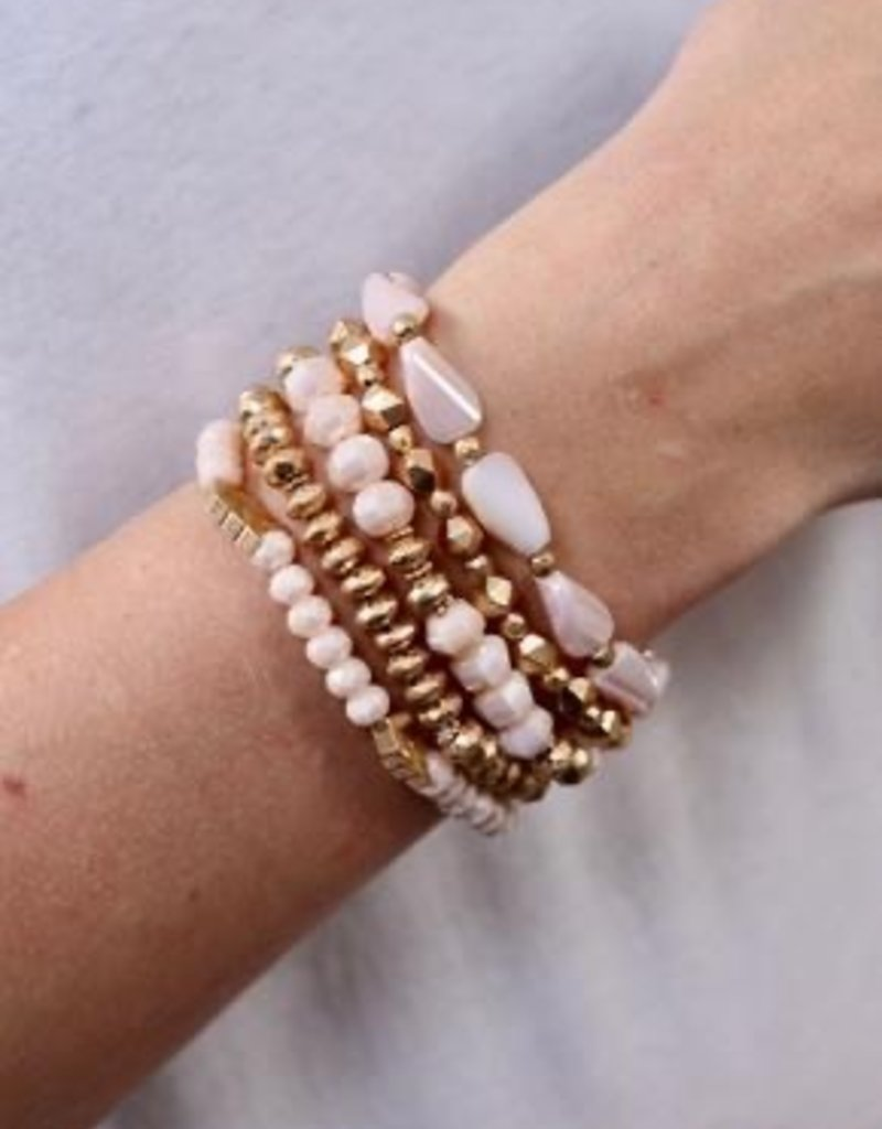 Register Set Of 5 Beaded Stretch Bracelets Blush