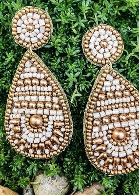 Ivan Teardrop Seed Bead Embellished Post Earring