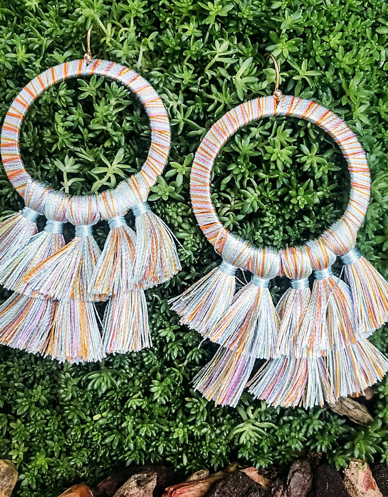 Helma Thread Wrapped Round Earring With Tassels Light Multi