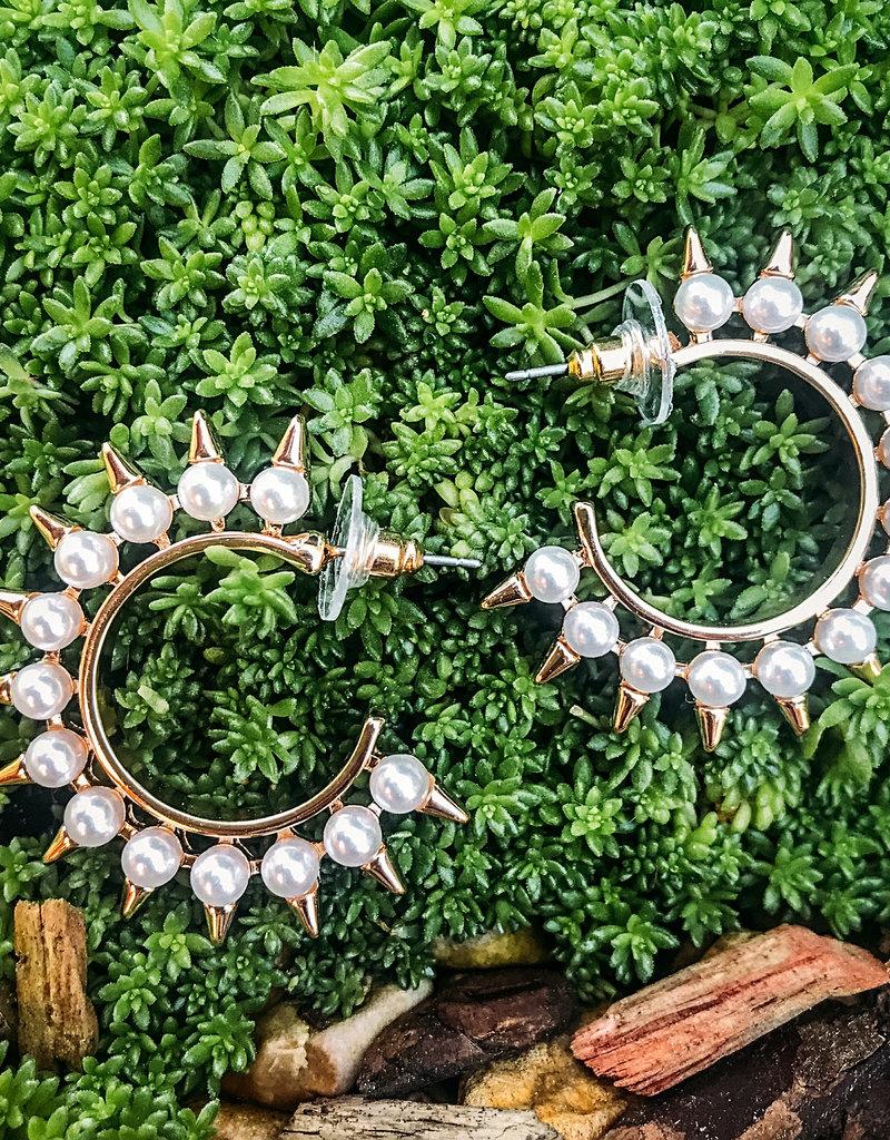Leeman Spike Pearl Post Hoop Earring Pearl