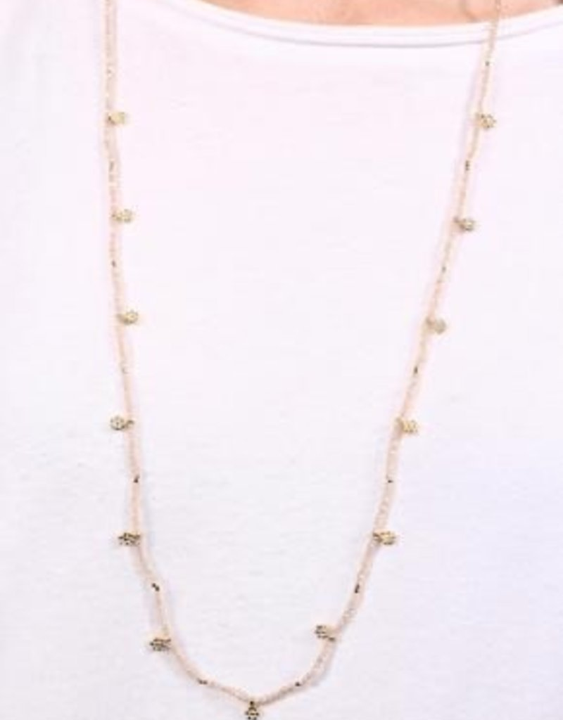 Thorne Long Beaded Necklace With Metal Flower Charms Natural