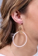 Rosalie Round Glitter Fish Hook Earring White