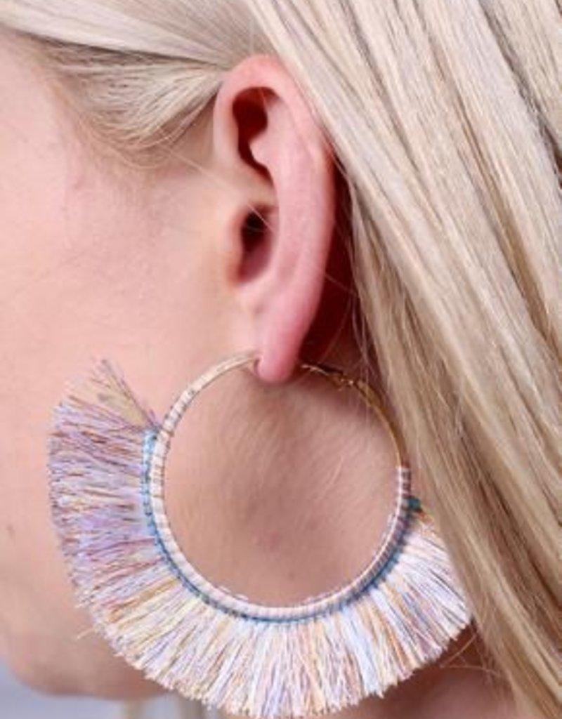 Karlton Thread Wrapped Hoop Earring With Fringe Multi