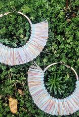 Karlton Thread Wrapped Hoop Earring With Fringe Multi