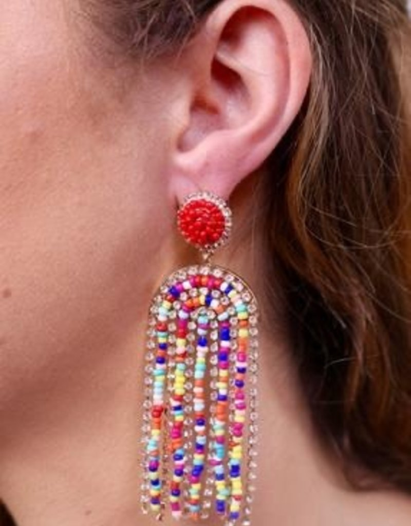 Morello Seed Bead And Cz Fringe Post Earring Multi