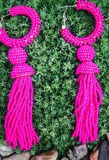 Ryker Seed Bead Hoop With Long Seed Bead Tassel Hot Pink