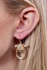 Pilcher Clear Stone Fish Hook Earring With Bee Accent Gold