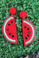 Summertime Watermelon Seed Bead Post Earring Red