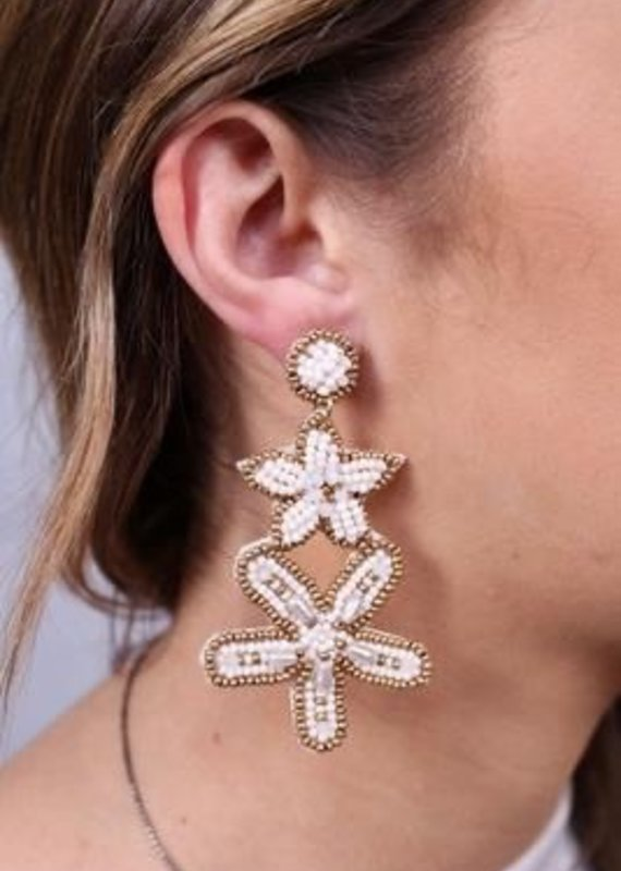 Queens Seed Bead Starfish And Flower Post Earring Ivory