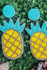 Willy Seed Bead Pineapple Post Earring Yellow