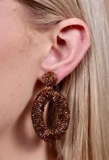 Bryn Oval Beaded Post Earring Bronze