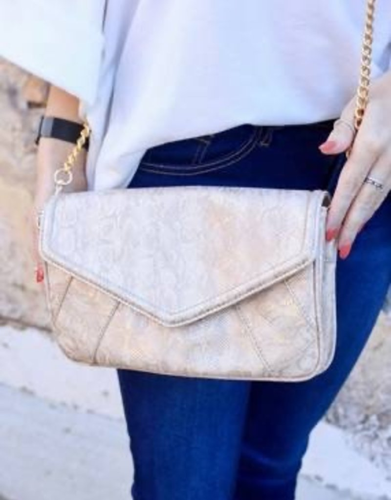 Lauren Crossbody Bag With Chain Strap Snake Shimmer Gold