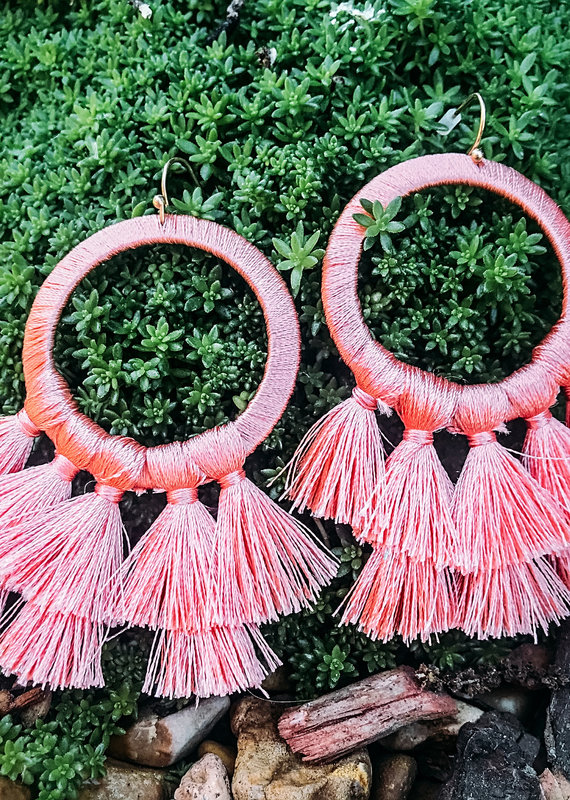 Helma Thread Wrapped Round Earring With Tassels CORAL