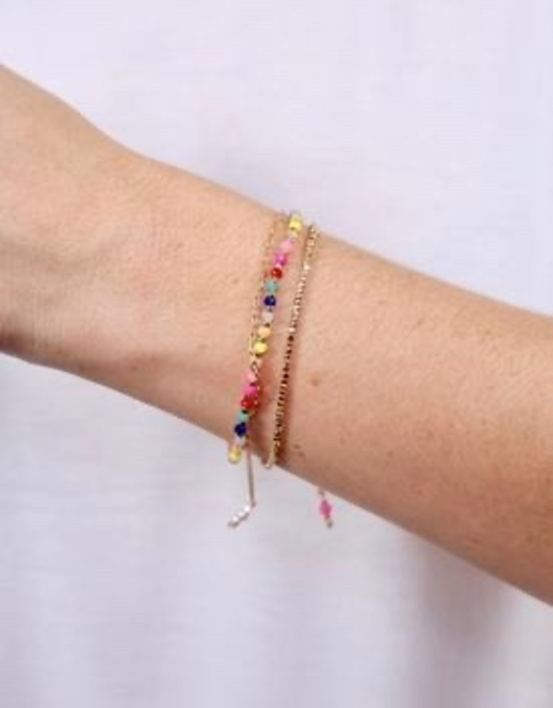 Chuckles Triple Row Beaded Bracelet With Adjustable Pull Tie Multi