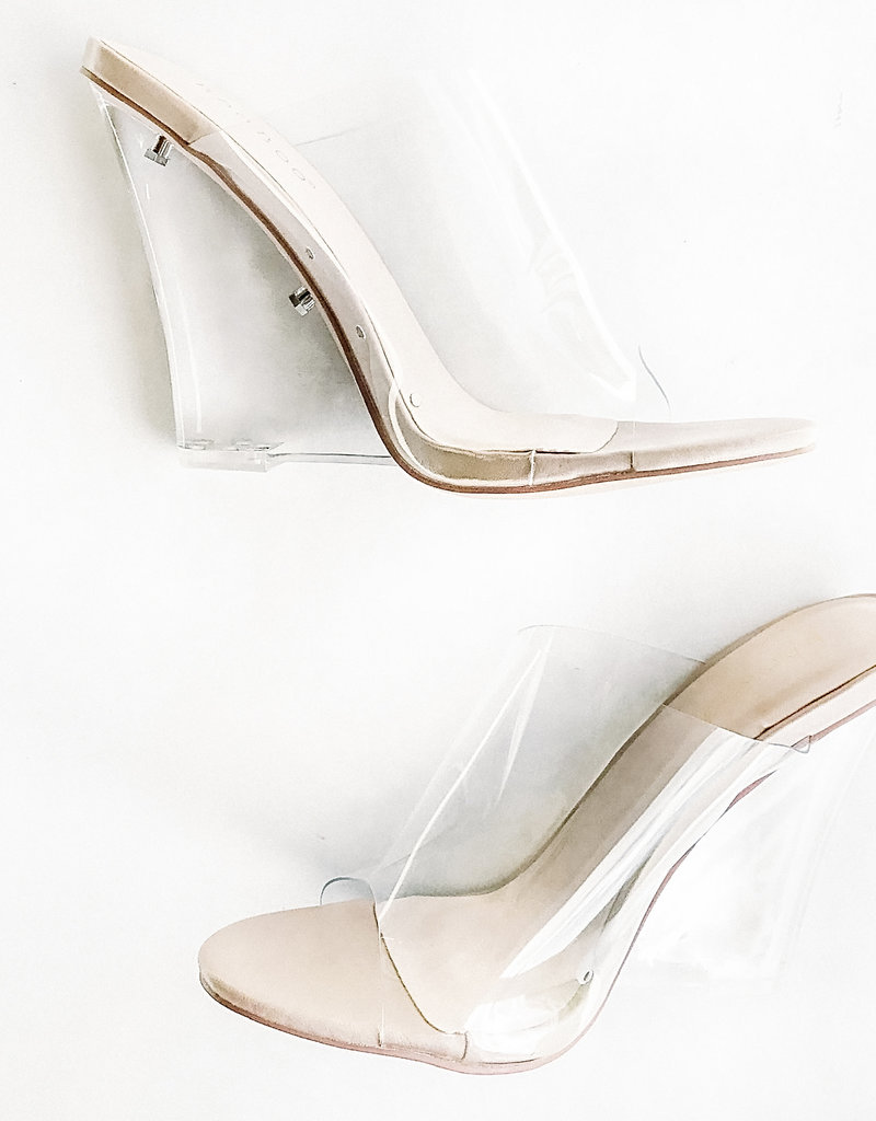 Clear Open Toe Mule with Nude Sole