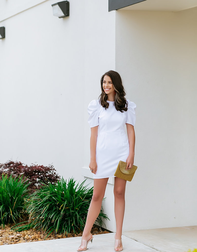 TCEC White Puff Sleeve Dress