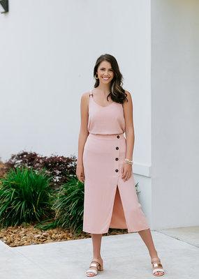 RD USA International Cloud Pink Woven Skirt Front Button Detail
