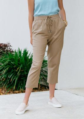 RD USA International Tan Woven Pants With White Pinstripes