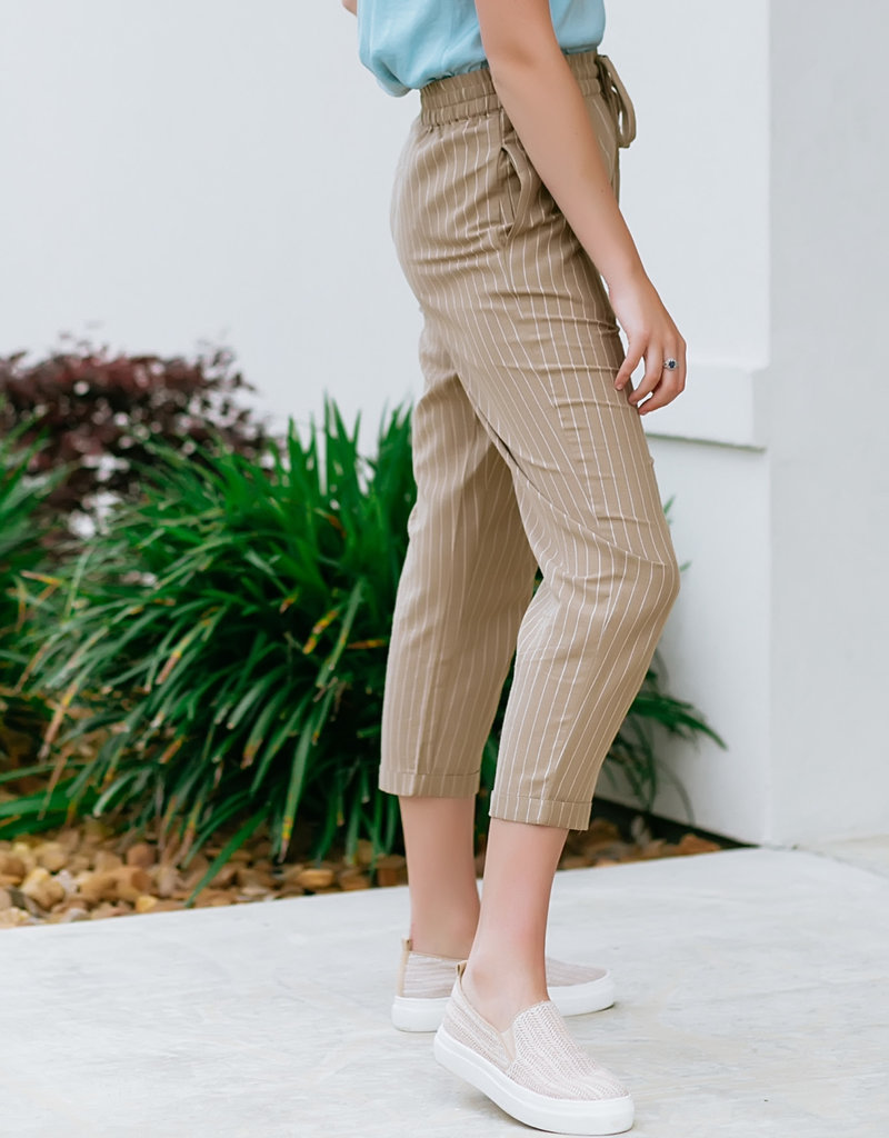 RD USA International Tan Woven Pants With White Pinstripes