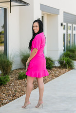 Half Flutter Sleeve Dress with Ruffle Hem
