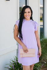 Lilac Flounce Sleeve Woven Dress