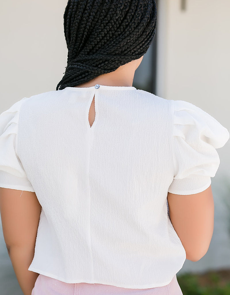 Off White Half Puff Sleeve Textured Woven Top