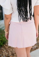 Misty Pink Washed Heavy Twill Denim Wrap Skirt