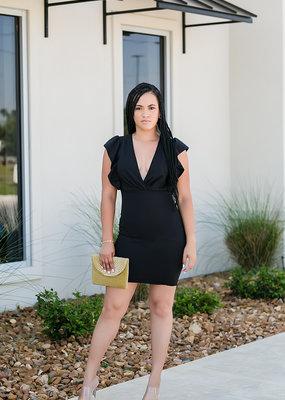 Light So Shine V-neck Black Dress