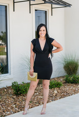 Light So Shine V-neck Black Dress