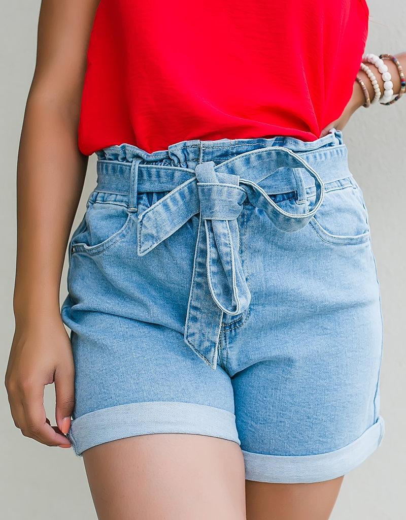 TrendNotes Denim Belted Paperbag Cuff Shorts
