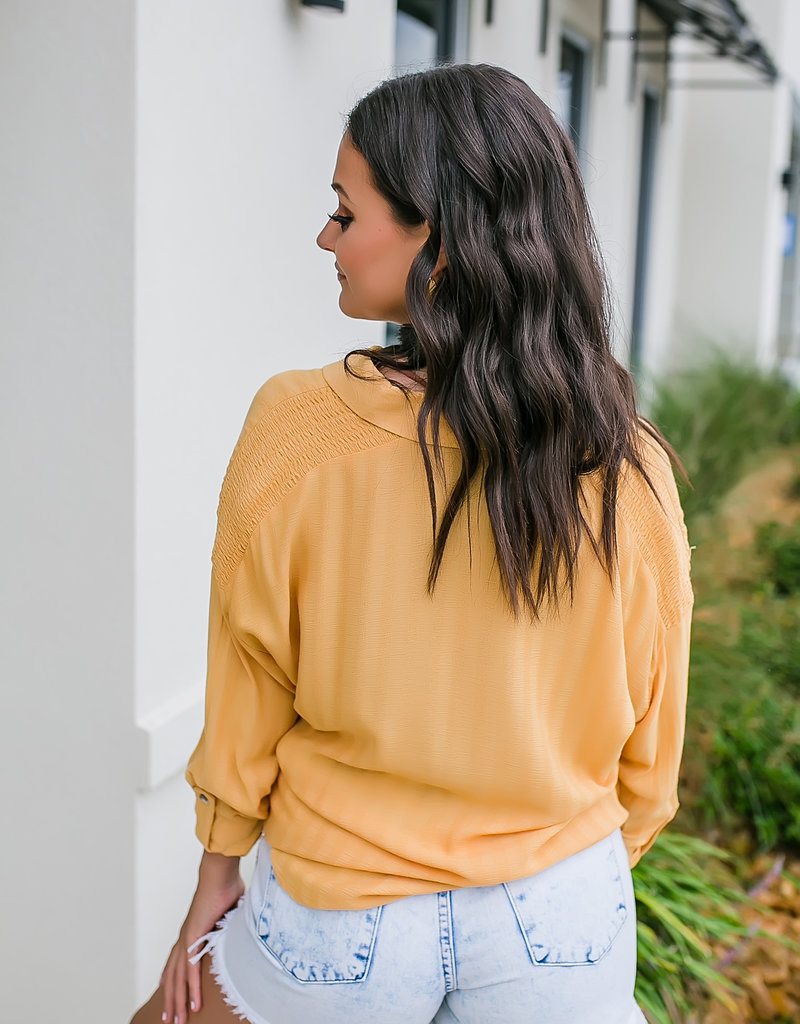 Dex Longsleeve Mustard Blouse with Smocking Detail