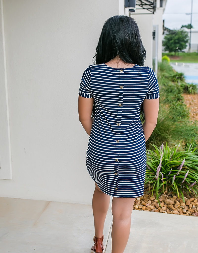 Navy Dress w/ White Stripes CrewNeck Dress