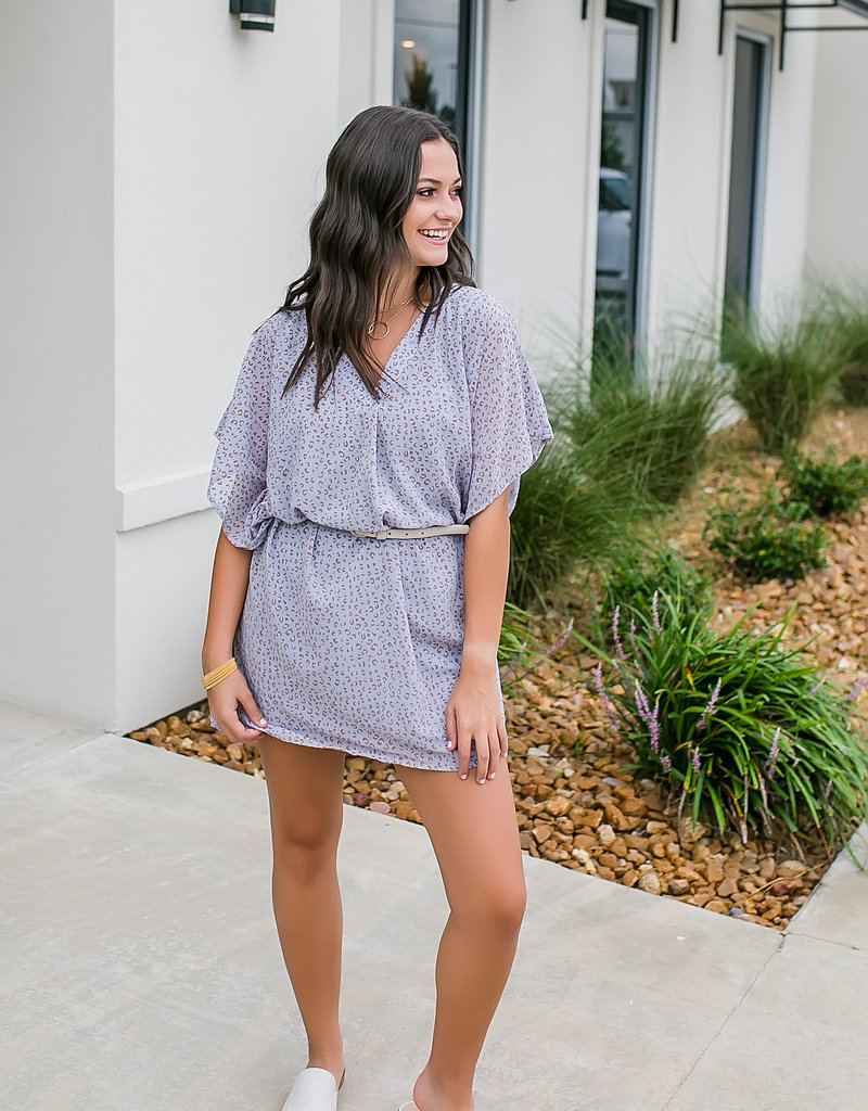 Light Blue Leopard Print Shift/Tunic Dress