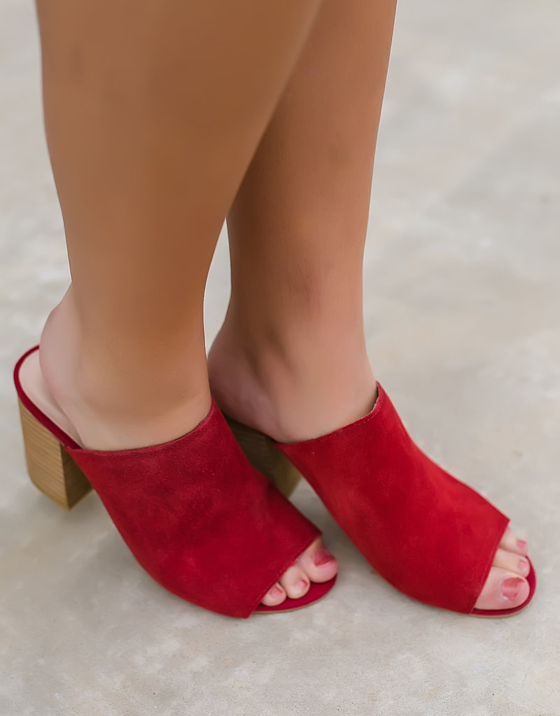 Red Leather Mule
