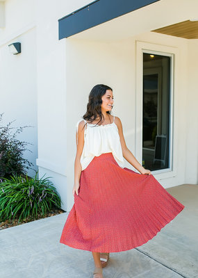 Tiered/Pleated Long Skirt-Red
