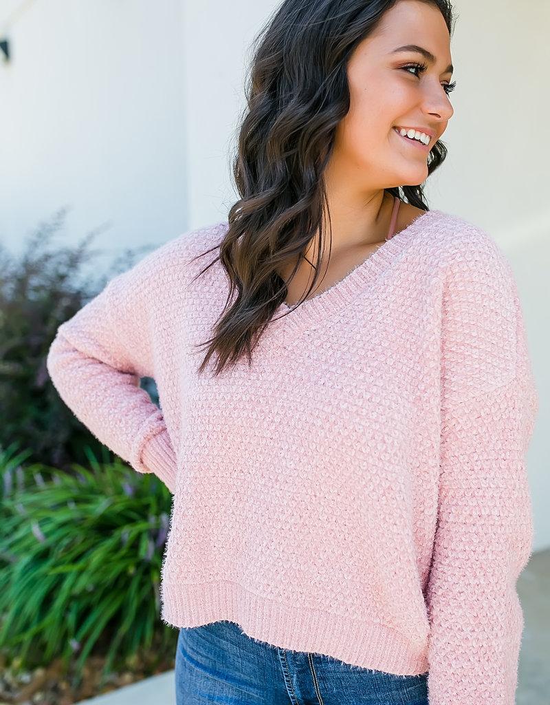 HYFVE Blush V-neck Cropped Sweater
