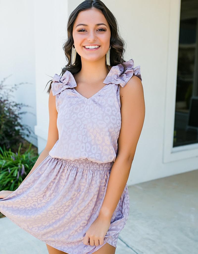 Lilac Jacquard Print Sleeveless Dress