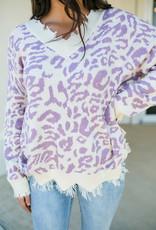MainStrip Purple Leopard Sweater