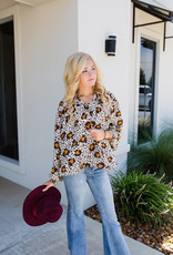 Longsleeve Brown and Gold Leopard Blouse