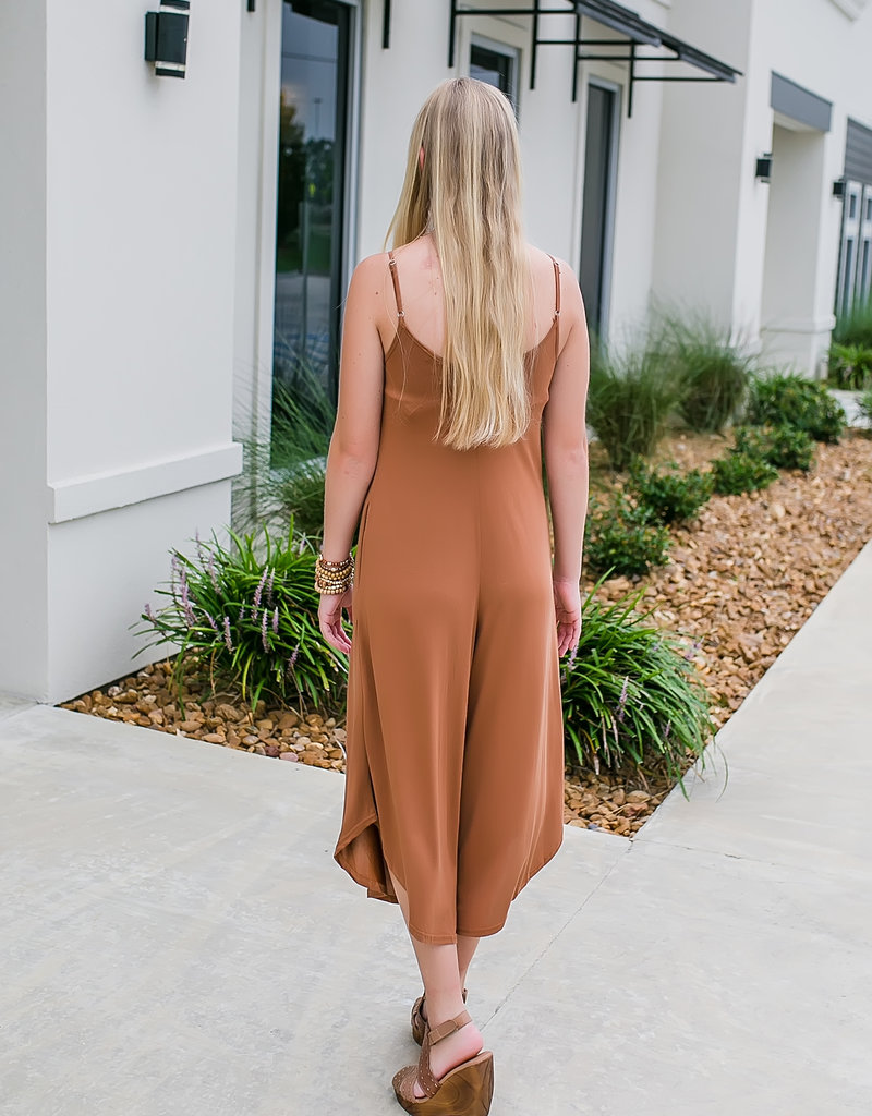 V-Neck Cropped Wide Palazzo Leg Cami Jumpsuit