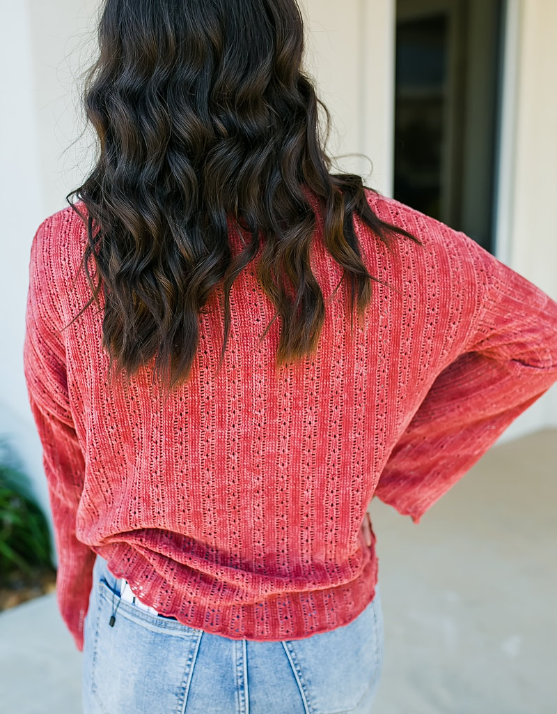 Crochet Chenille Knit Sweater-Brick