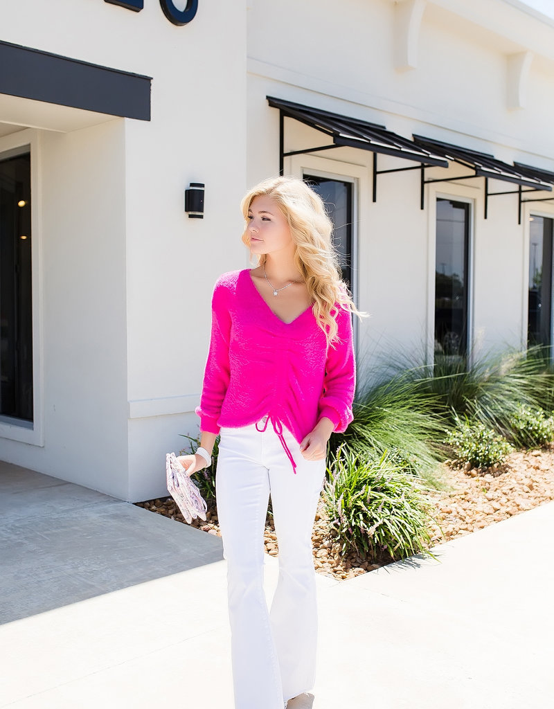HYFVE Fuchsia Sweater with Front Bunching